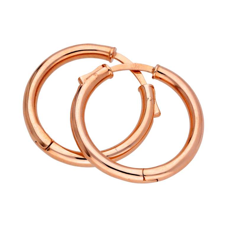 Rose Gold Plated Sterling Silver Push Button 25mm Hoop Earrings