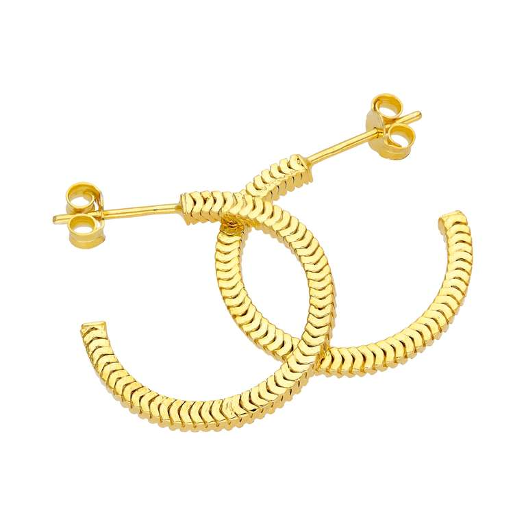 Gold Plated Sterling Silver Square Snake Chain 20mm Hoop Stud Earrings