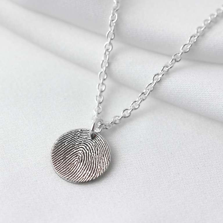 Bespoke Sterling Silver 11mm Fingerprint Necklace 16-24 Inches