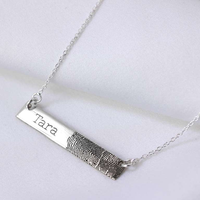 Bespoke Sterling Silver Fingerprint & Initial Bar Necklace
