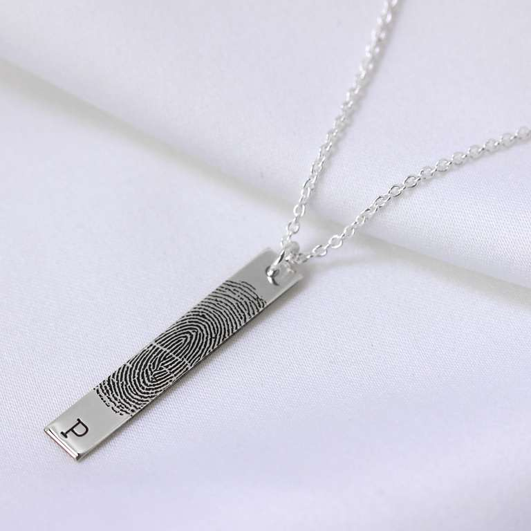 Bespoke Sterling Silver Fingerprint Bar Drop Initial Necklace 16 - 24 Inches