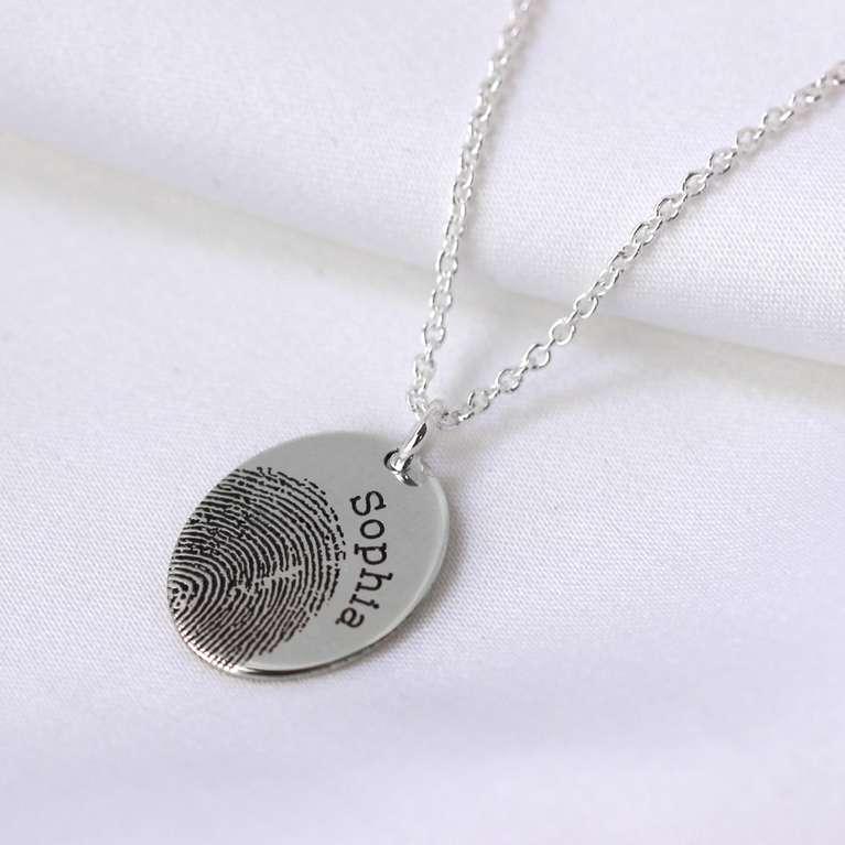 Bespoke Sterling Silver Oval Fingerprint Name Necklace 16-24 Inches
