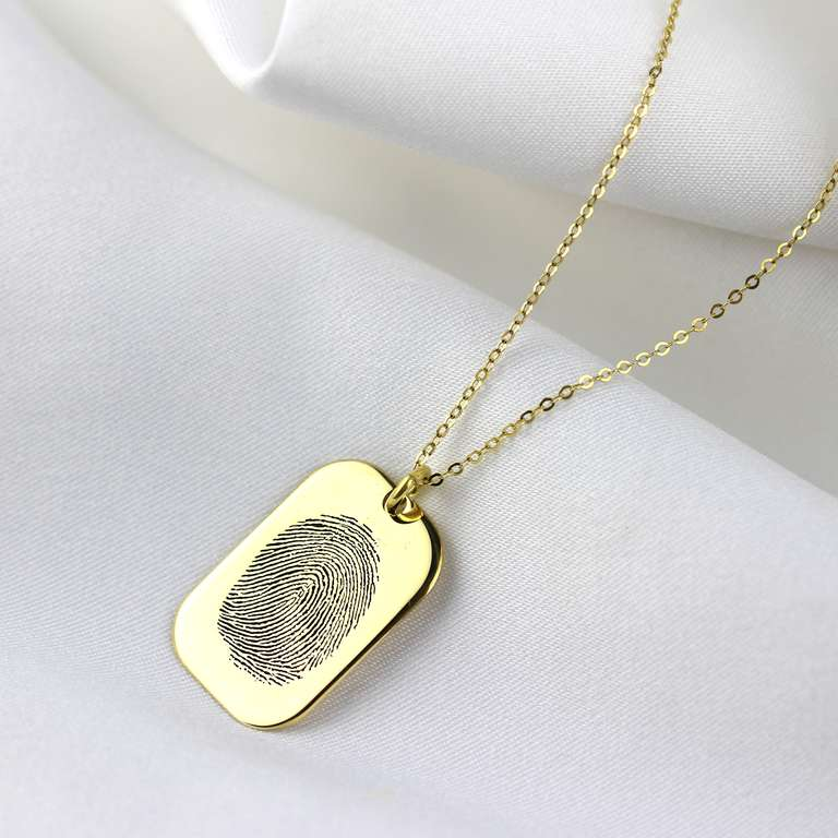 Bespoke 9ct Gold Dog Tag Fingerprint Necklace 16 - 22 Inches