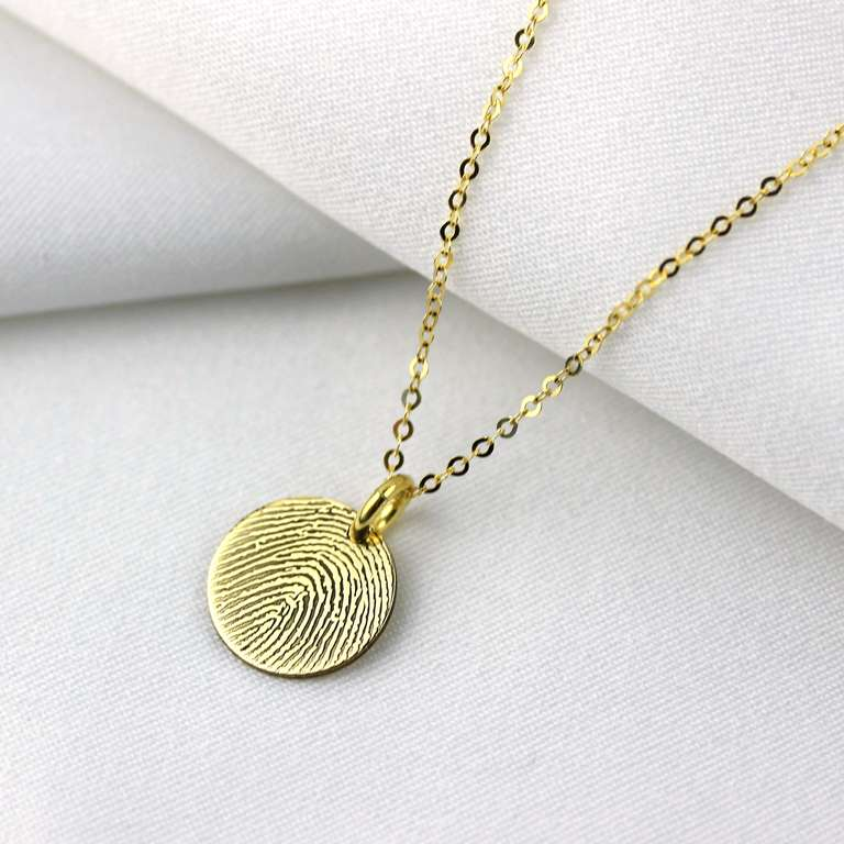 Bespoke 9ct Gold 11mm Round Fingerprint Necklace 16-24 Inches