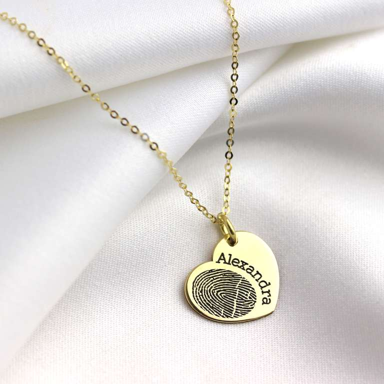 Bespoke 9ct Gold Fingerprint Heart Name Necklace 16-24 Inch