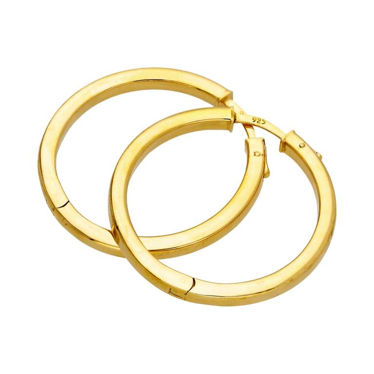 Gold Plated Sterling Silver Push Button 35mm Hoop Earrings