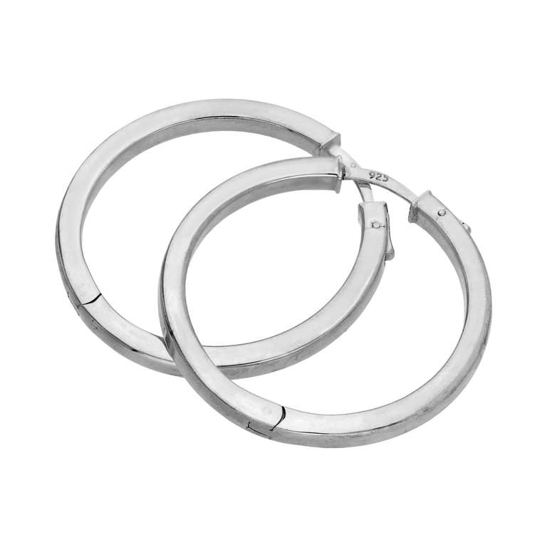 Sterling Silver Square Tube Push Button 35mm Hoop Earrings
