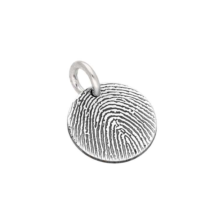 bespoke sterling silver 11mm fingerprint charm
