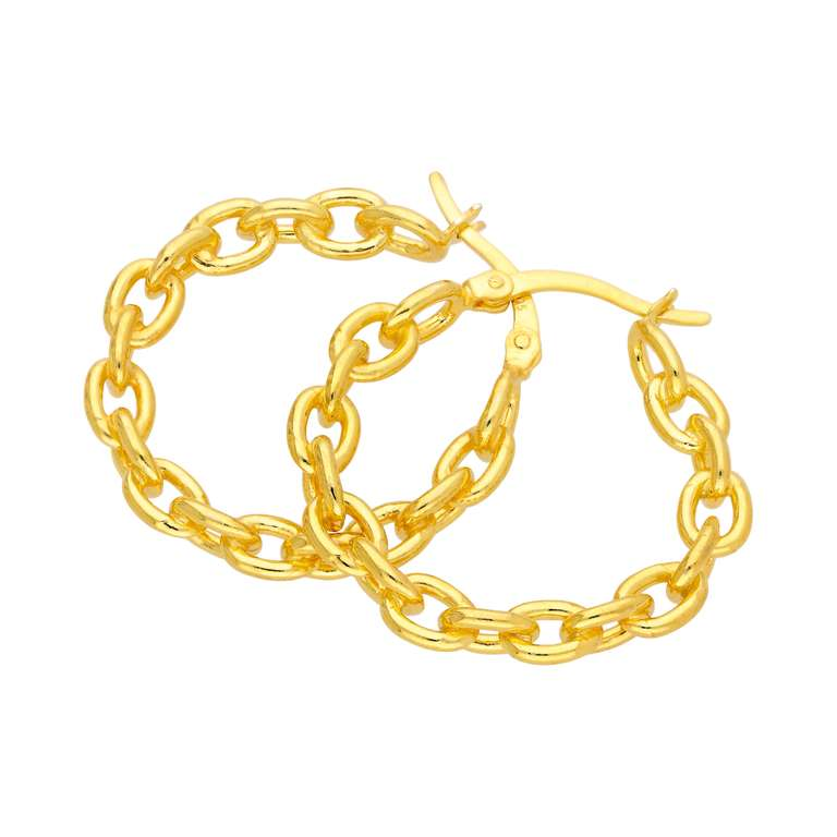 Gold Plated Sterling Silver Long Link 27mm Hoop Earrings