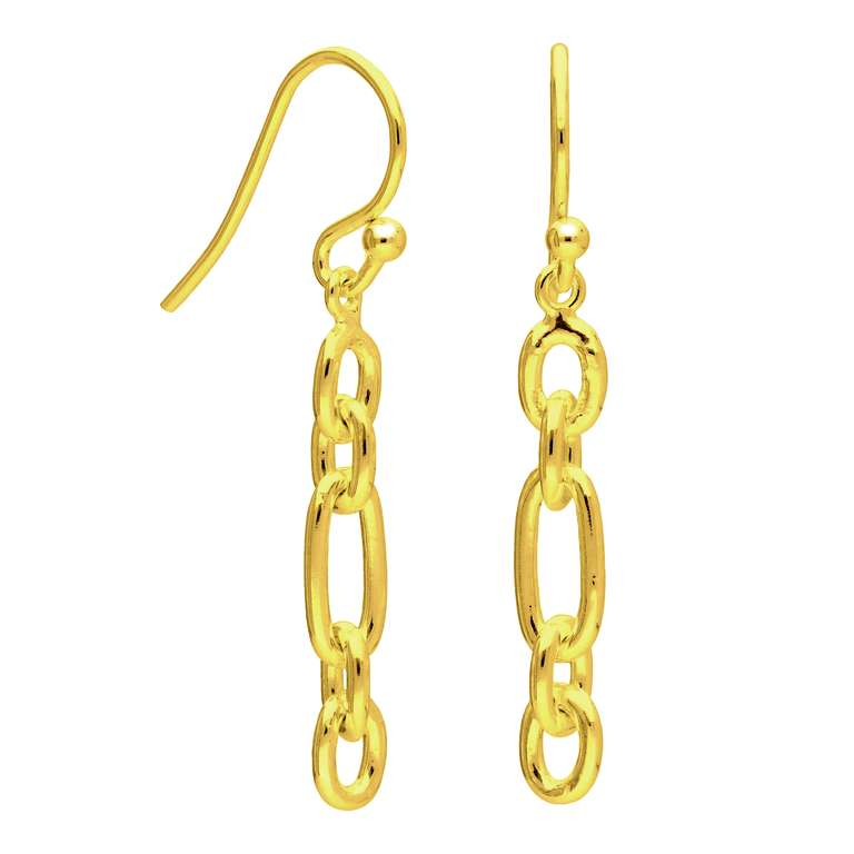 Gold Plated Sterling Silver Cable Chain Drop Earrings