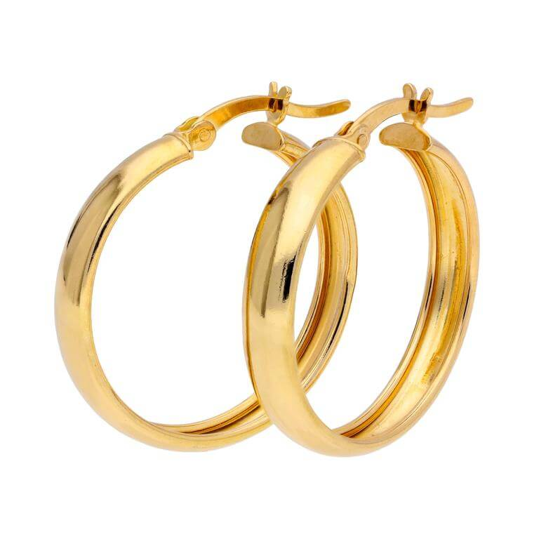 Gold Plated Sterling Silver Chunky Creole 25mm Hoop Earrings
