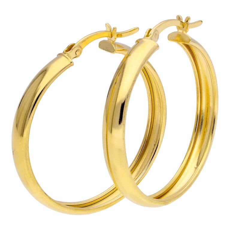 Gold Plated Sterling Silver Chunky Creole 30mm Hoop Earrings