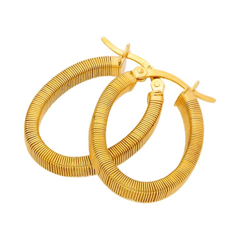 Gold Plated Sterling Silver Oval Chunky Creole Hoop Earrings