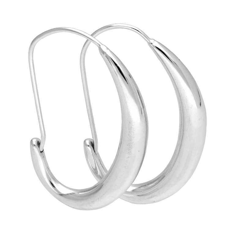 Sterling Silver Oval Liquid Hoop Earrings