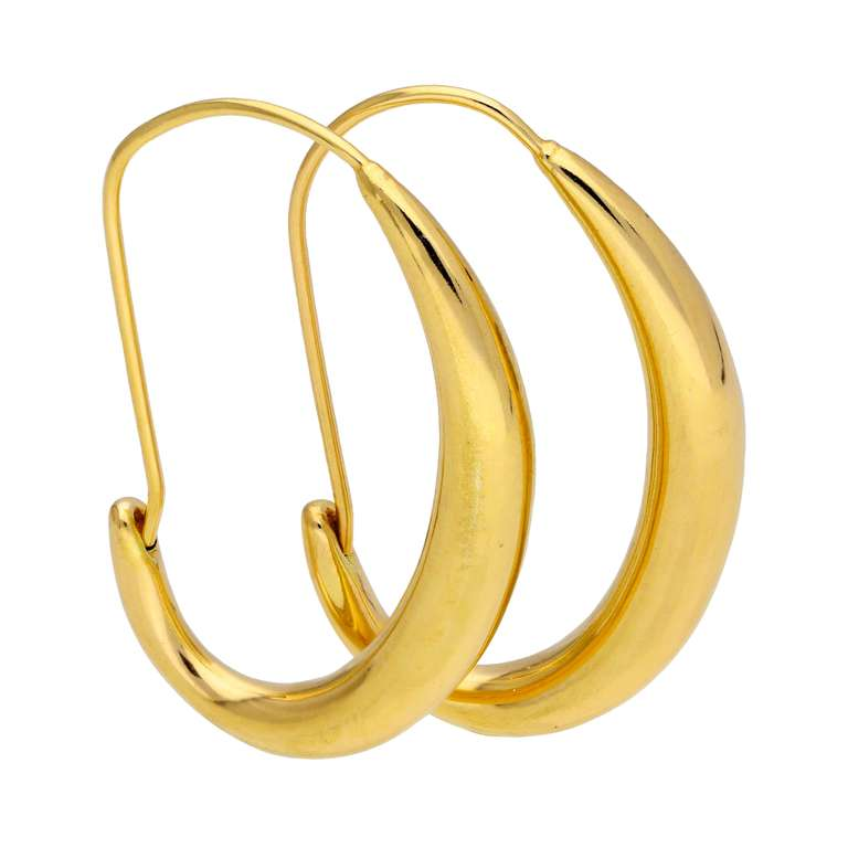 Gold Plated Sterling Silver Oval Liquid Hoop Earrings