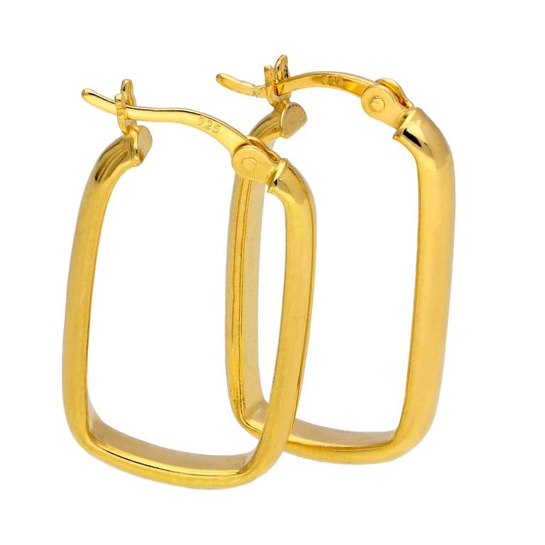 Gold Plated Sterling Silver Plain Ovate Creole Hoop Earrings