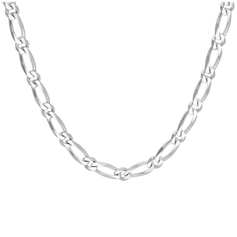 Sterling Silver Flat Figaro Link Chain Necklace 18 Inches