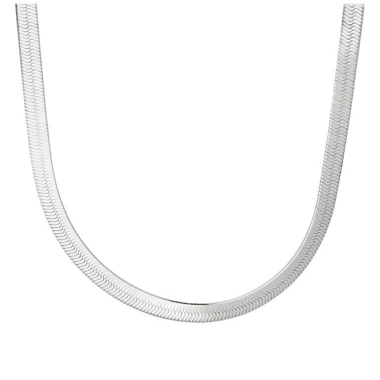 Sterling Silver Super Herringbone Chain Necklace 18 Inches