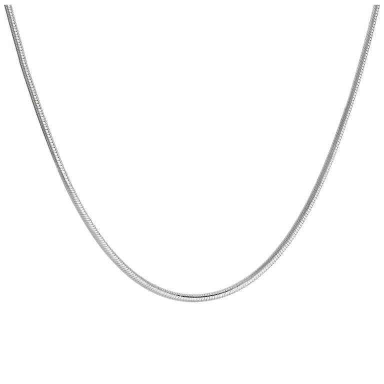 Sterling Silver 2mm Snake Chain Necklace 18 Inches