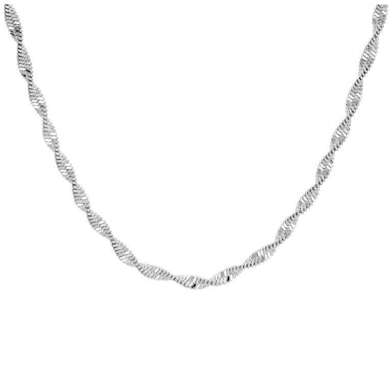 Sterling Silver Disco Snake Twist Chain Necklace 18 Inches