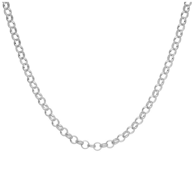Sterling Silver Rolo Link Chain Necklace 18 Inches