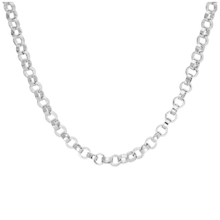 Sterling Silver Thick Rolo Link Chain Necklace 18 Inches