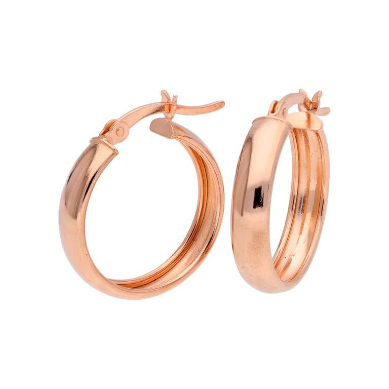 Rose Gold Plated Sterling Silver Creole 20mm Hoop Earrings
