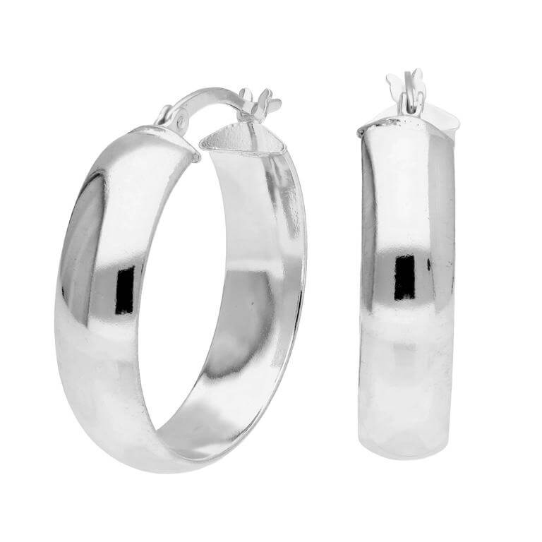 Sterling Silver Chunky Creole 25mm Hoop Earrings
