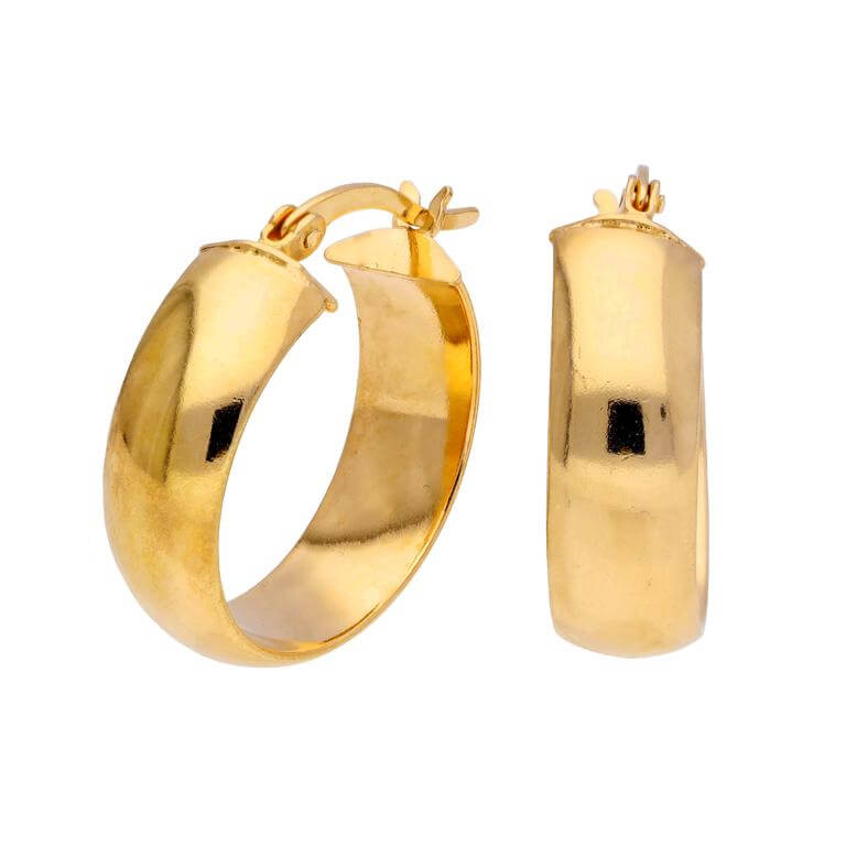 Gold Plated Sterling Silver Chunky Creole 20mm Hoop Earrings