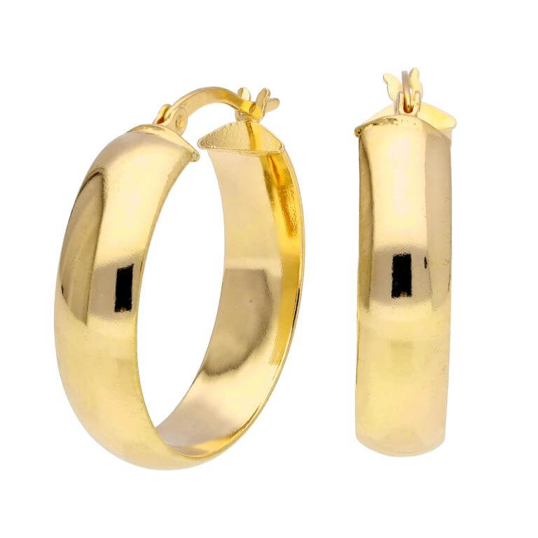 Gold Plated Sterling Silver Chunky 25mm Hoop Earrings