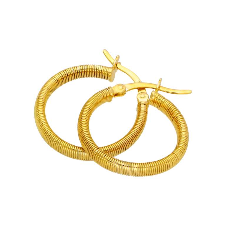Gold Plated Sterling Silver Lined Creole 20mm Hoop Earrings