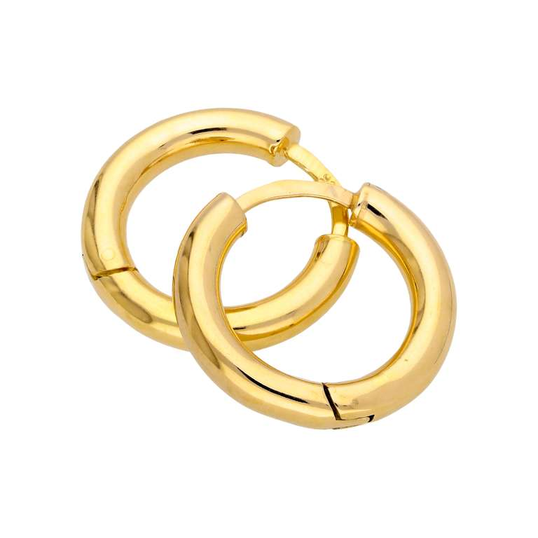 Gold Plated Sterling Silver Chunky 20mm Huggie Hoop Earrings