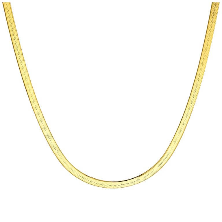 Gold Plated Sterling Silver Snake Chain Necklace 18 Inches