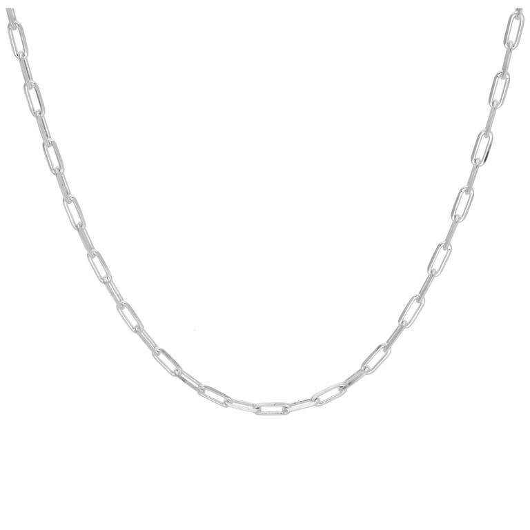 Sterling Silver Flat Long Cable Link Chain Necklace 18 Inches