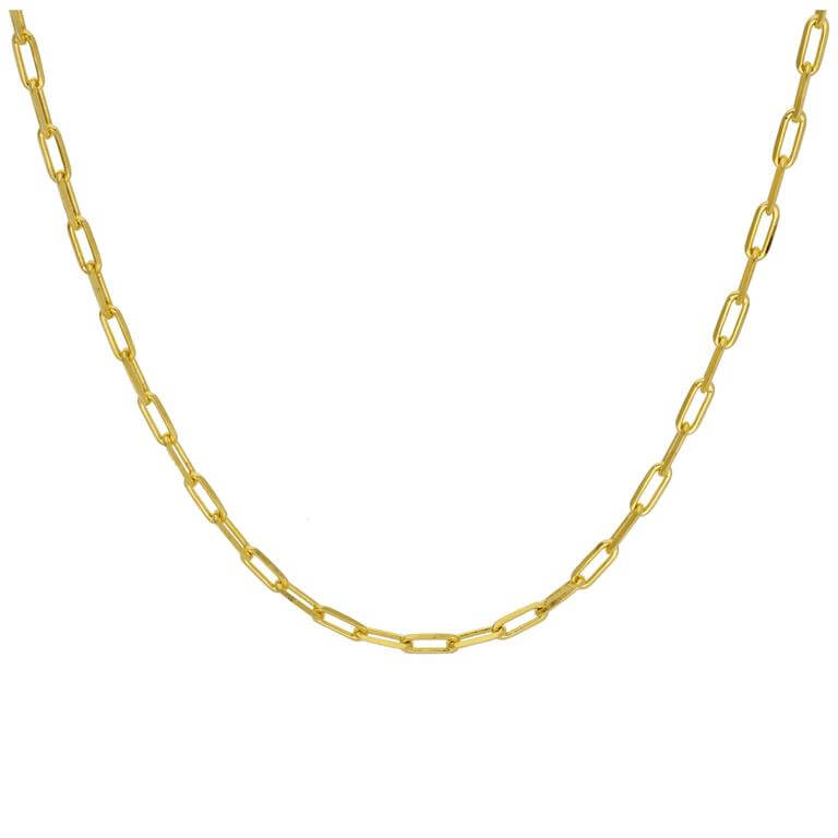 Gold Plated Sterling Silver Flat Long Link Necklace 18 Inches