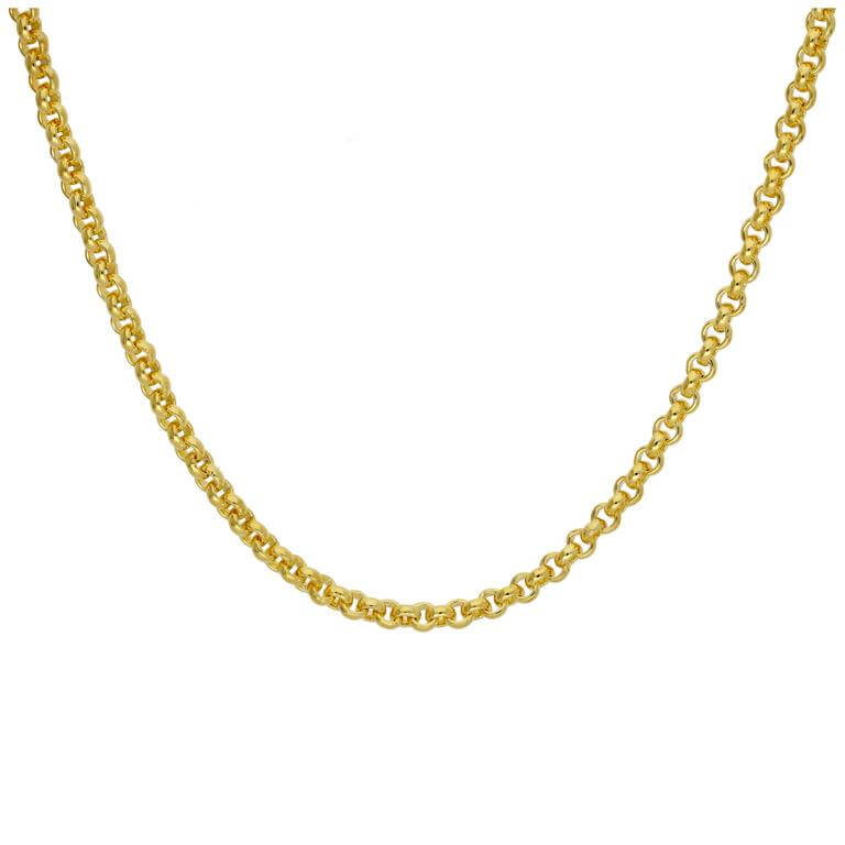 Gold Plated Sterling Silver Rolo Link Chain Necklace 18 Inches
