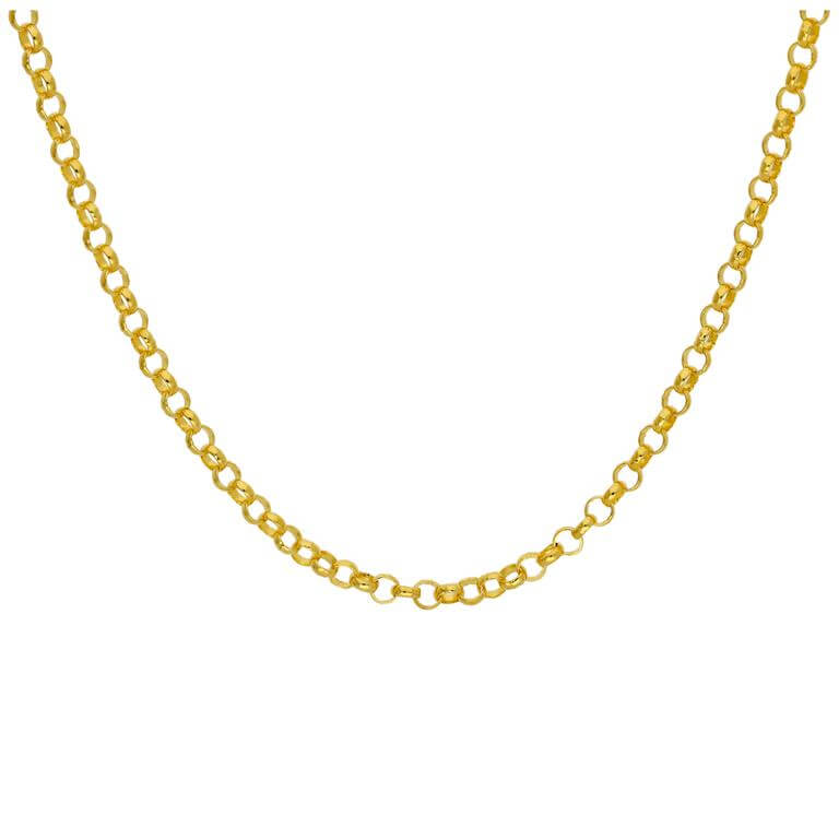 Gold Plated Sterling Silver 3mm Rolo Chain Necklace 18 Inches