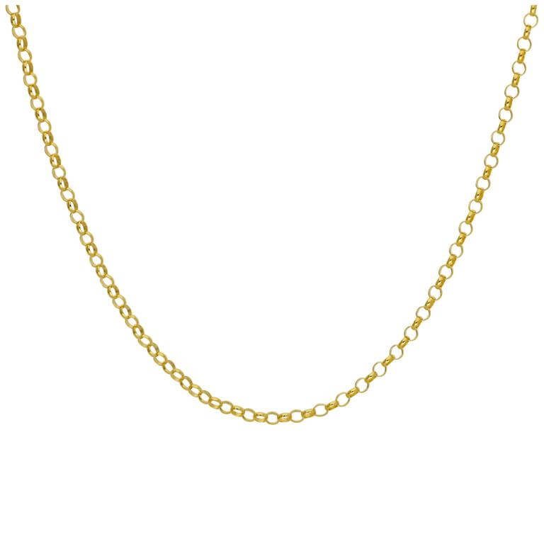 Gold Plated Sterling Silver 2mm Rolo Chain Necklace 18 Inches