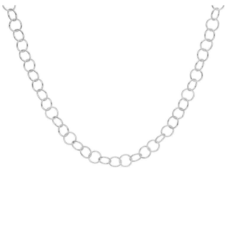 Sterling Silver Light 5mm Rolo Link Chain Necklace 18 Inches