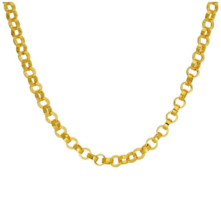 Gold Plated Sterling Silver Thick 5mm Rolo Necklace 18 Inch