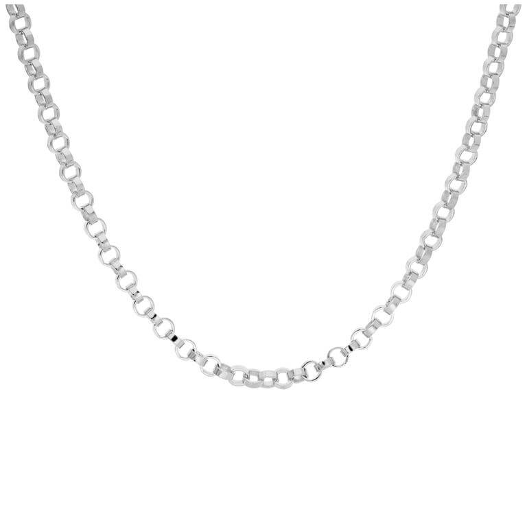 Sterling Silver Thick 4mm Rolo Link Chain Necklace 18 Inches