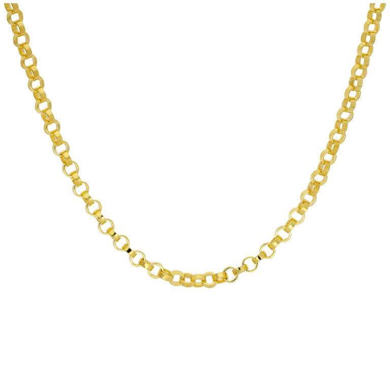 Gold Plated Sterling Silver Thick 4mm Rolo Necklace 18 Inch