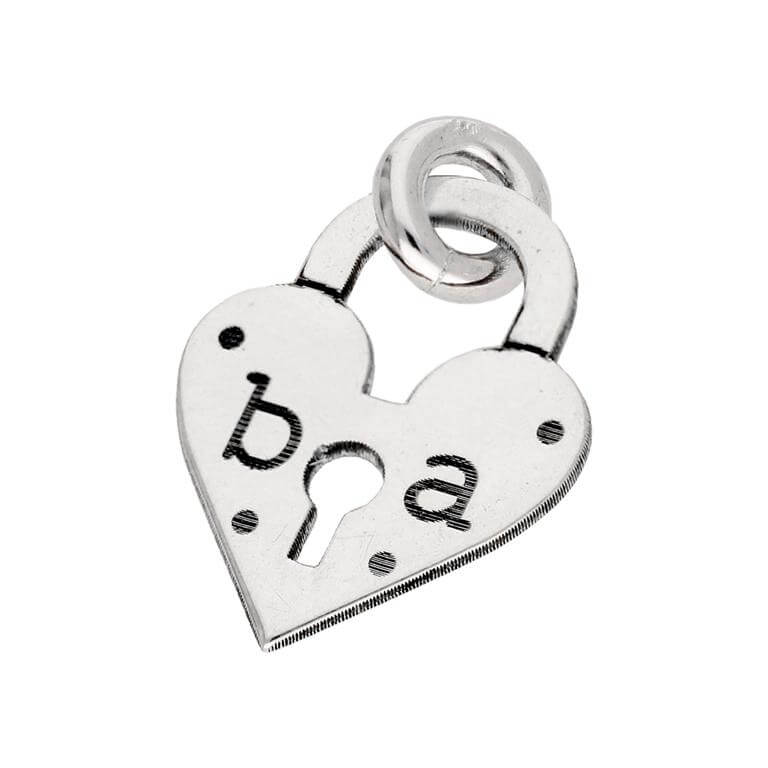 Bespoke Sterling Silver Initials Heart Padlock Charm