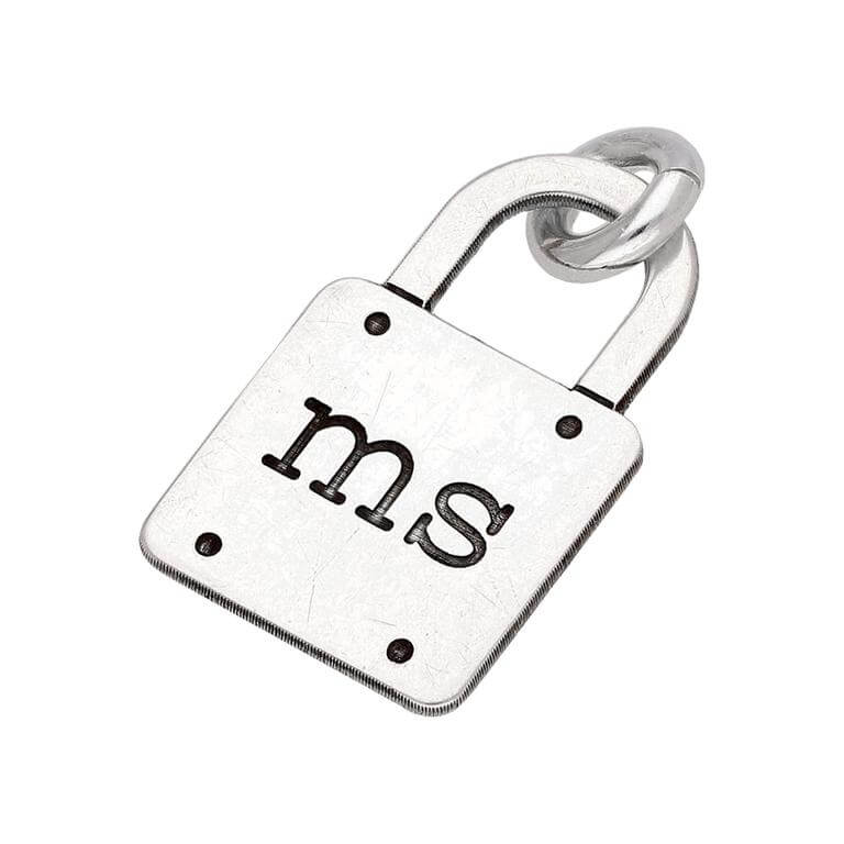 Bespoke Sterling Silver Initials Padlock Charm