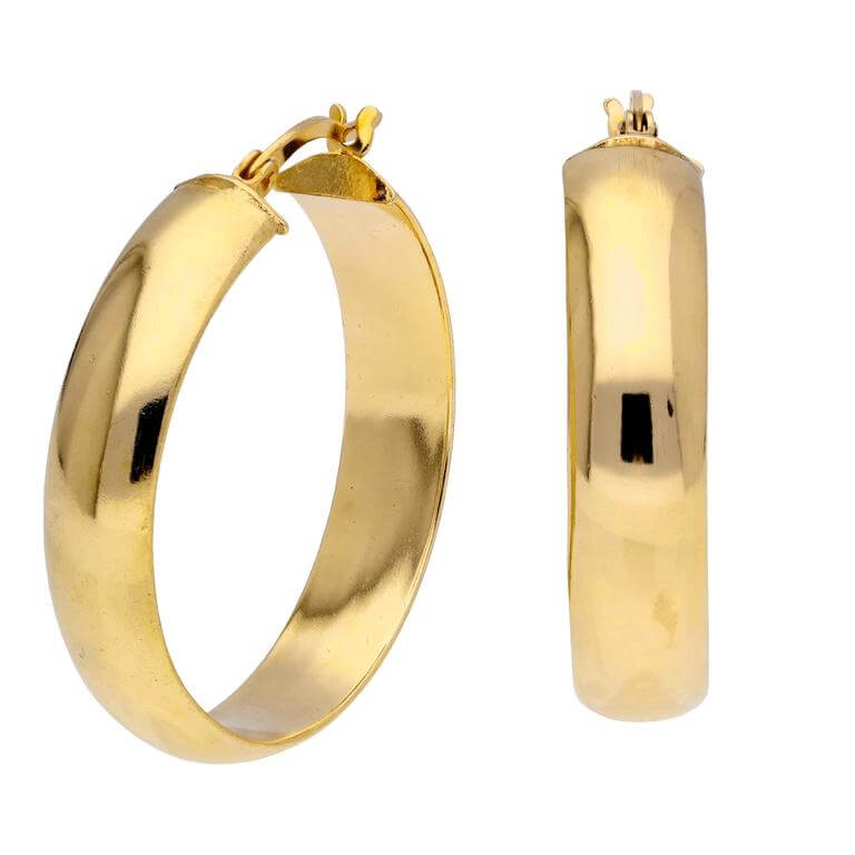 Gold Plated Sterling Silver Wide Creole 30mm Hoop Earrings