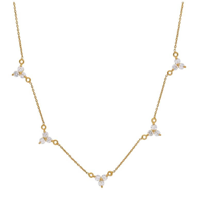 Gold Plated Sterling Silver Multi Trio CZ Cluster Necklace