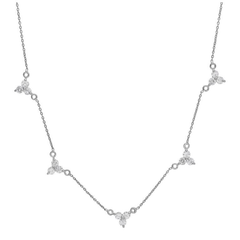 Sterling Silver Multi Trio CZ Cluster Adjustable Necklace