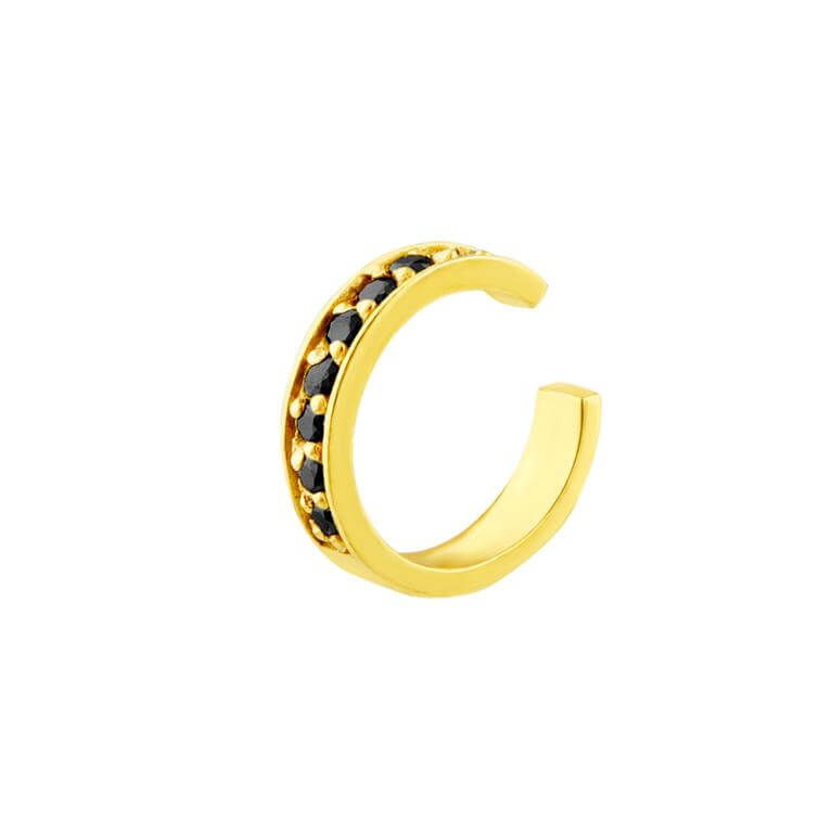 Gold Plated Sterling Silver Black CZ Pave Ear Cuff