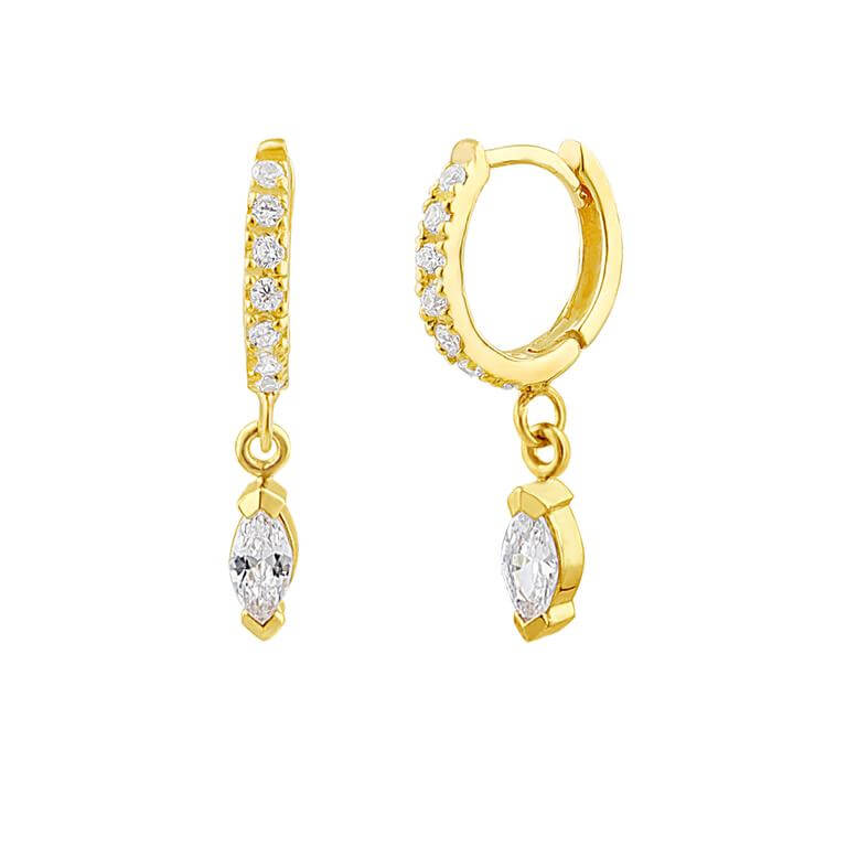 Gold Plated Sterling Silver CZ Marquise Charm Hoop Earrings