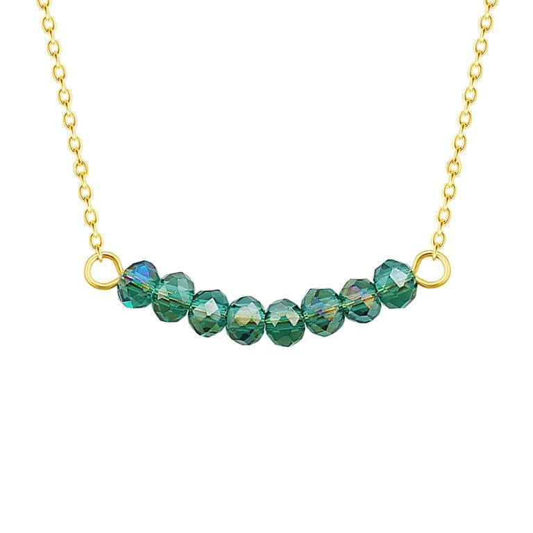 Gold Plated Sterling Silver CZ Emerald Bead 16 Inch Necklace